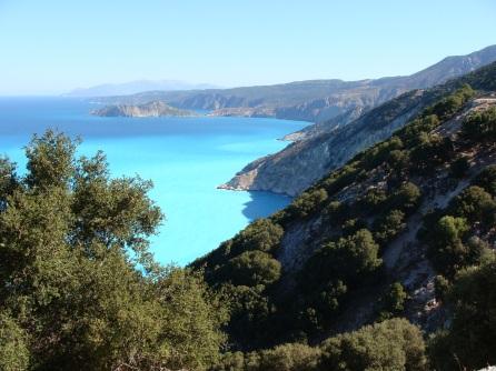view Myrtos/Assos peninsula
